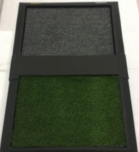 Tapete higienizante duplo grande verde e cinza