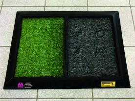 Tapete higienizante duplo pequeno verde e cinza